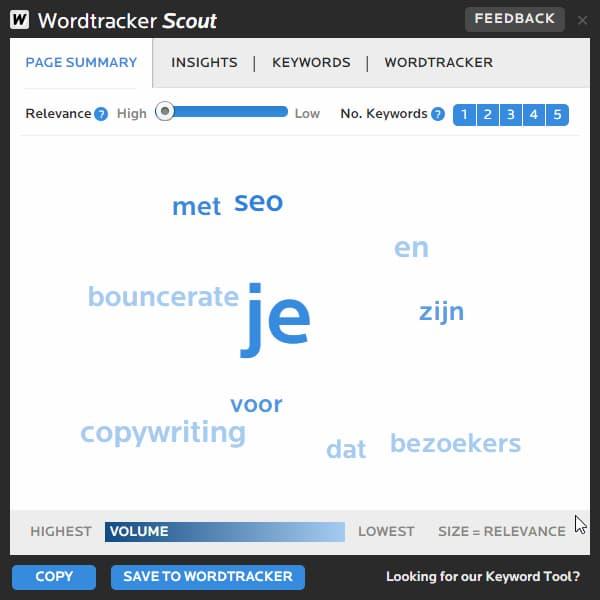SEO-tool WordTracker Scout helpt je met zoekwoordenonderzoek.